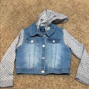 Girls jean denim jacket hoodie 6x NWOT grey